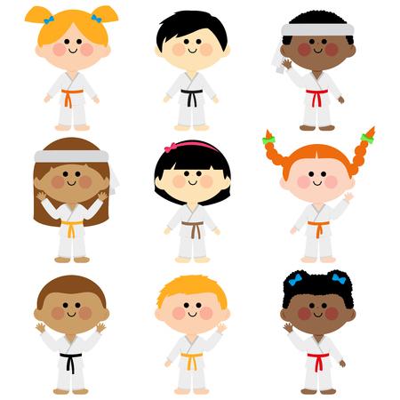 武術の制服を着た子供たち: 空手、テコンドー、柔道、柔術、キック ボクシングやカンフー スーツ ベクター セット