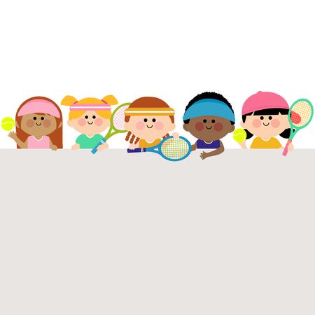 child sport: Horizontal blank banner and kids tennis players. Illustration