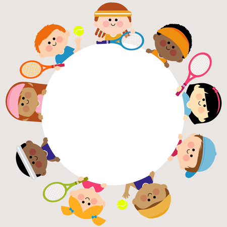 tennis girl: Round blank banner and kids tennis players. Illustration