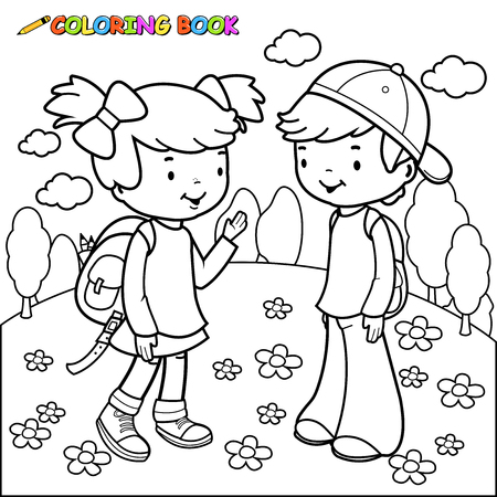 coloring book page: Black and white outline image of a girl and a boy students. Coloring book page. Illustration