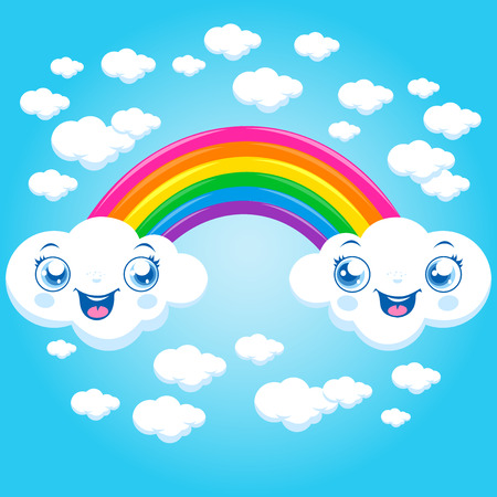 colourful sky: Rainbow and cloud characters Illustration