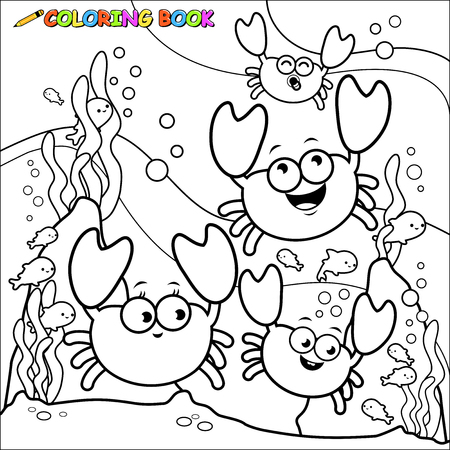 Crabs underwater coloring book page