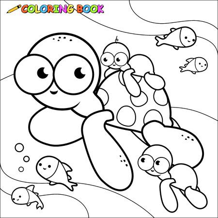Underwater sea turtles coloring page