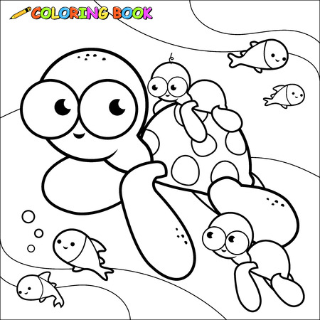 Underwater sea turtles coloring page