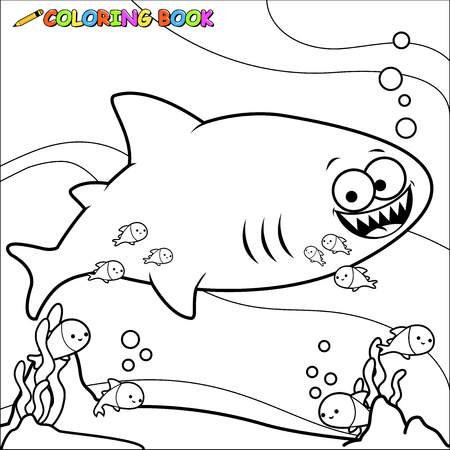 work book: Underwater shark coloring book page Illustration