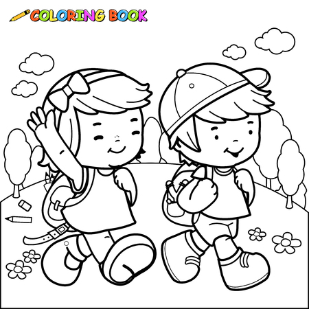 page: Children walk to school. Coloring book page Illustration