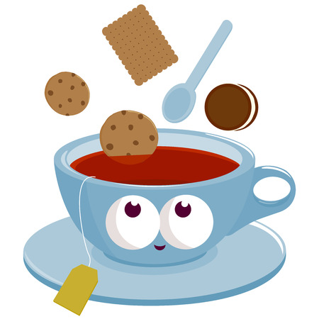 dunking: Cup of Tea and cookies dunking into tea