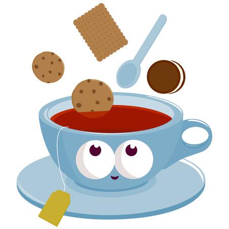 taza de té: Taza de té y galletas en el té mojando