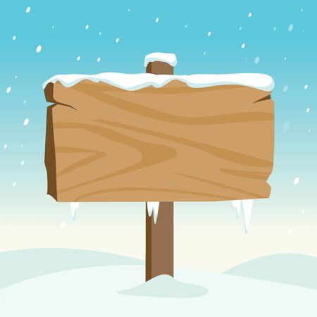 segno di legno in bianco in mezzo alla neve