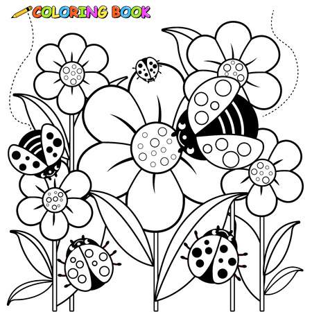springtime: Black and white outline image of ladybugs flying on flowers in springtime. Illustration