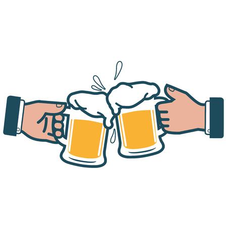 Geschäftsleute Gläser Bier hält und Rösten