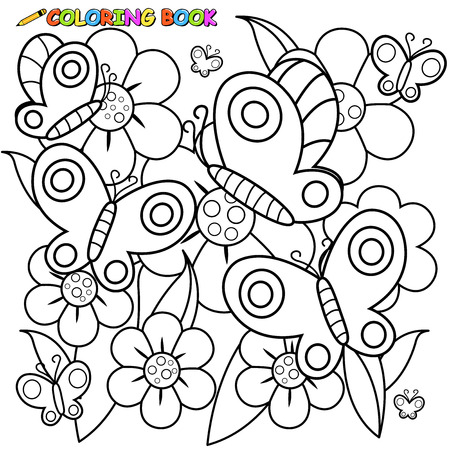 springtime: Black and white outline image of butterflies flying on flowers in springtime. Illustration