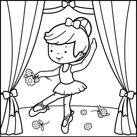 Coloring book page ballerina girl dancing on stage Illustration