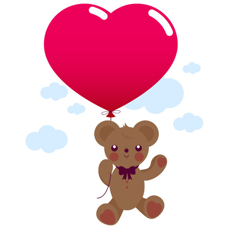 soft toy: Teddy bear soft toy holding a red heart shaped balloon and flying in the sky.