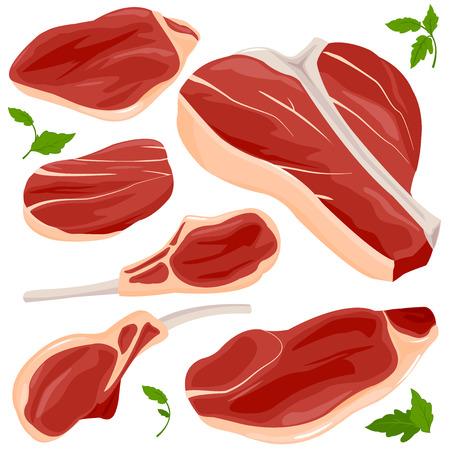 t bone steak: Red raw meat and steaks collection.