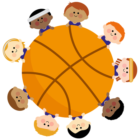 hispanic boys: Basketball and children team Illustration