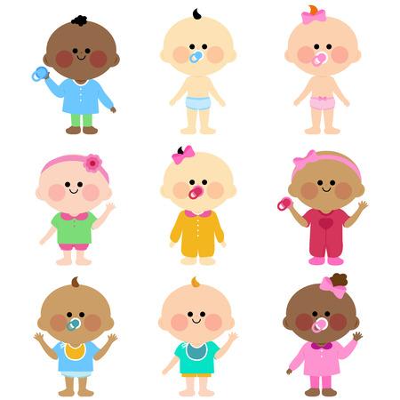 black baby boy: Group of cute babies
