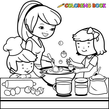 Mother and children cooking in the kitchen coloring book page Vectores