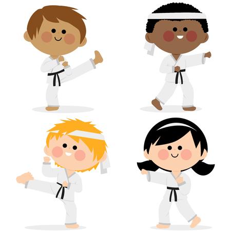 Group of karate children athletes wearing martial arts uniforms