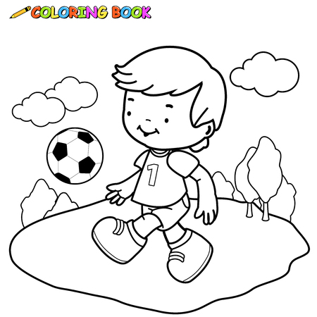 Boy playing soccer. Coloring book page.