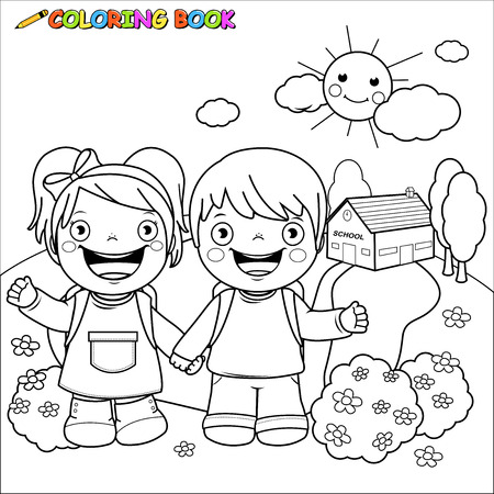 Girl and a boy students at school. Coloring book page.