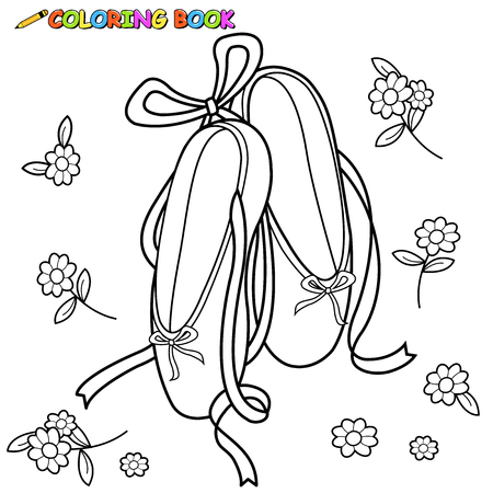 Ballet shoes coloring book page