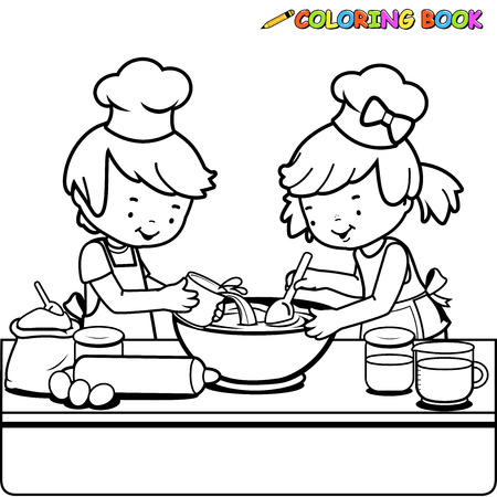 counter top: Children cooking coloring book page Illustration