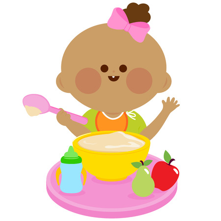 cereal: A baby girl is having her breakfast of cereal and fruits.