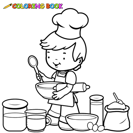 utensils: Little boy preparing to cook coloring book page Illustration