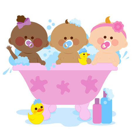 Babies in a tub taking a bath Illustration
