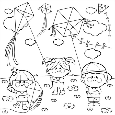 flying kites: Children flying kites coloring book page.