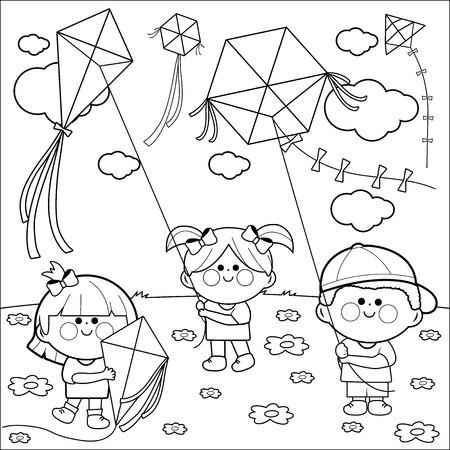 lijntekening: Kinderen vliegeren kleurboek pagina.