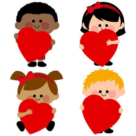 Children holding red hearts Illustration