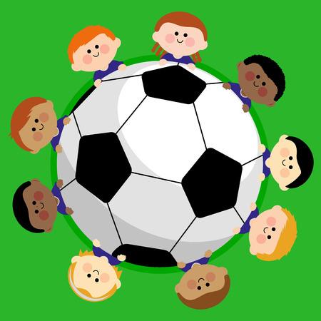hispanic boy: A soccer ball and a boys children team. Illustration