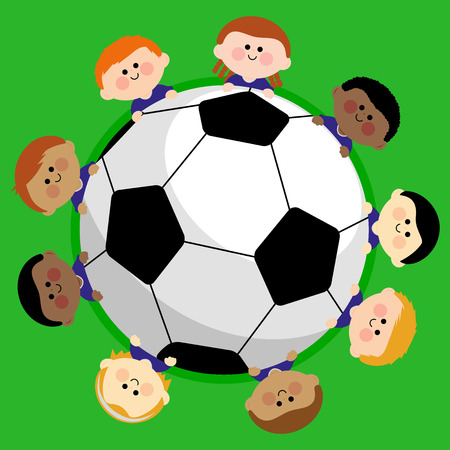 A soccer ball and a boys children team. Illustration