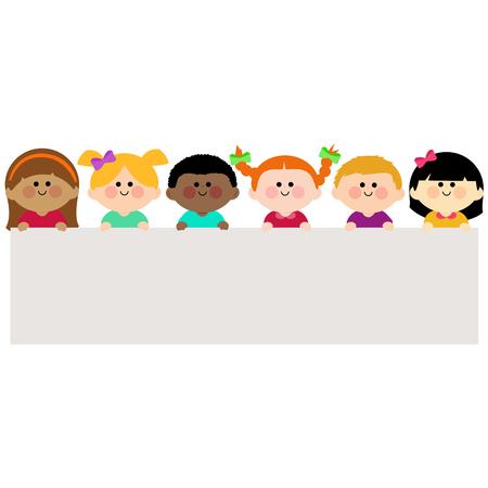 ethnicity happy: Group of kids holding horizontal blank banner Illustration