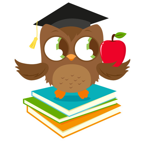 A cute owl wearing a mortarboard hat, sitting on a stack of books and holding a red apple. Çizim