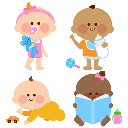 baby playing toy: Cute baby girls and boys