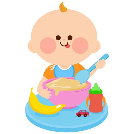 Dziecko jedzenia zbóż Ilustracje wektorowe