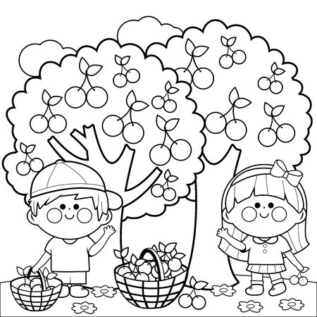 Kids harvesting cherries coloring book page