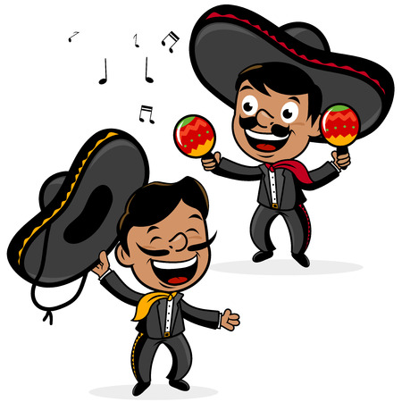 Mexican mariachi men playing the maracas and singing.