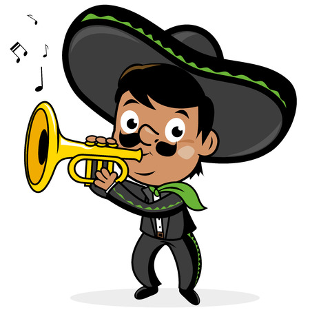 cornet: Mexican mariachi man playing the trumpet.