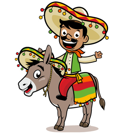 Mexican man riding a donkey