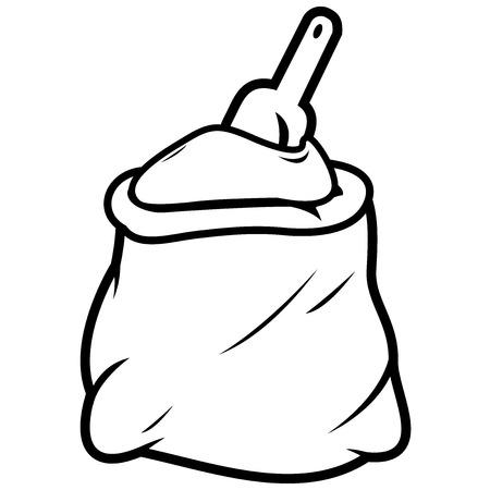 flour: Flour sack and scoop Illustration