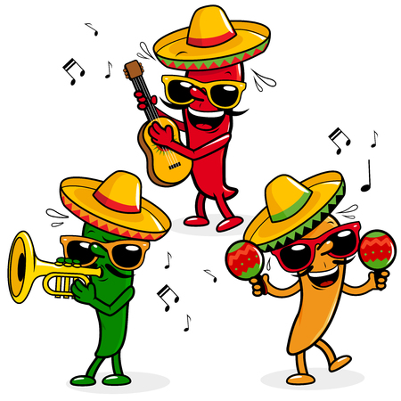 Cartoon hot mariachi peppers