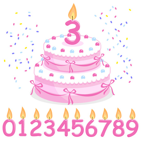 pink ribbons: Pink birthday cake, confetti, ribbons and candles