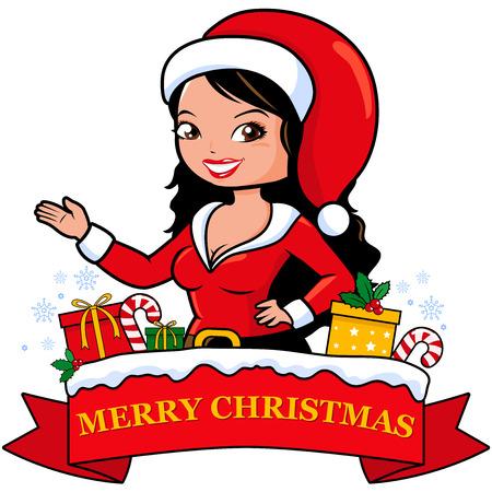christmas costume: Woman with Christmas costume and banner