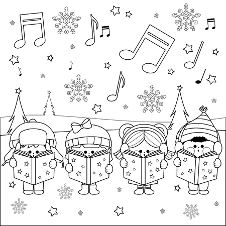 caroling: Group of children singing Christmas carols Illustration
