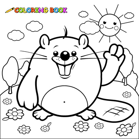 Cute beaver character coloring page