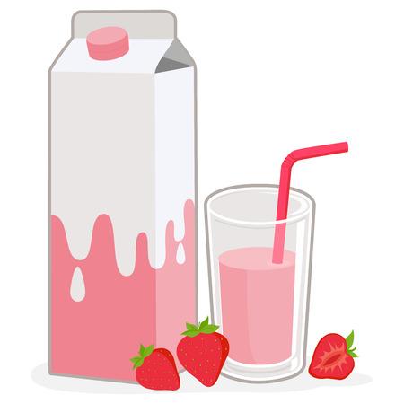 Strawberry milk and strawberries Illustration